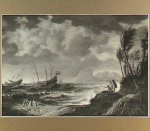 Schepen in een storm voor een Zuid-Amerikaanse kust