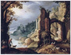 Rivierlandschap met een ruïne