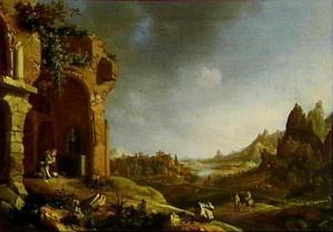 Biddende heremiet in een landschap met ruïnes (afgebeeld in spiegelbeeld)