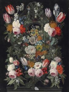 Bloemstilleven met tulpen, rozen en andere bloemen rond een cartouche, op een pint
