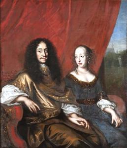 Portret van Gustav Adolf (1633-1695) en zijn vrouw Magdalena Sibilla (1631-1719)