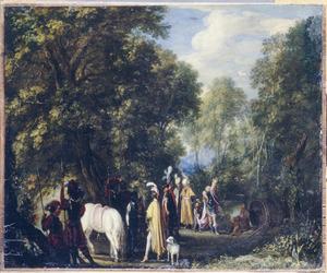 Boslandschap met Alexander de Grote op bezoek bij Diogenes in de ton