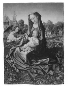 Maria met kind en een engel in een omsloten tuin