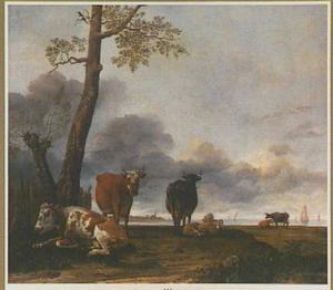 Koeien en schapen in een weiland aan de rivier