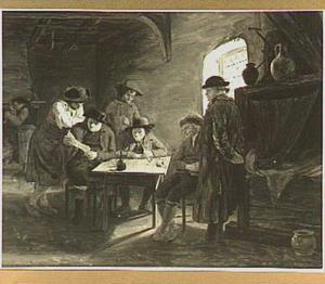 Interieur met rokende, drinkende en lezende figuren