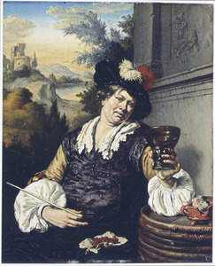 Drinker in een landschap
