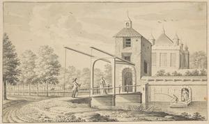 Kasteel met een ophaalbrug en figuren