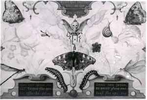 Allegorie op de kortheid van het leven (tweeluik met bloemen en insecten)
