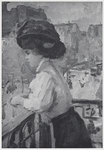 Dame op een balkon in  Parijs