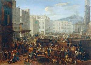 De anti-Spaanse opstand in Masaniello op het Piazza del Mercato te Napels, 7 juli 1647