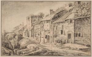 Huizen tegen een stadsmuur