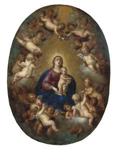 Maria met kind, omringd door putti