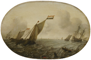 Zeegezicht met zeilschepen op stormachtige zee