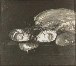Stilleven met oesters en grote garnalen