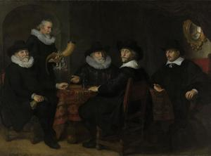 Vier doelheren der kloveniers Albert Coenraetsz. Burgh (?-1647), Jan Claesz. Vlooswijck (1571-1652), Pieter Reael (1569-1643) en Jacob Willekeur (?-?), met de kastelein Jacob Willekens (1564-1649) (of Jacob Nachtglas 1577-1654)