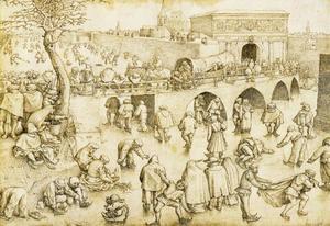 Schaatsers voor de poort van Sint-Joris