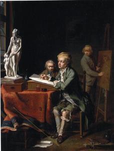 Kunstenaars aan het venster