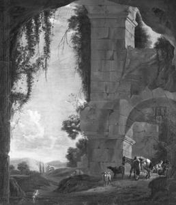 Landschap met een antieke ruïne en een herder