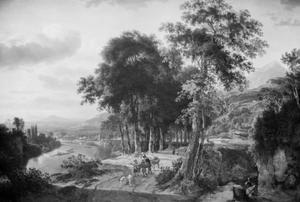 Italiaans rivierlandschap met  reizigers op een weg