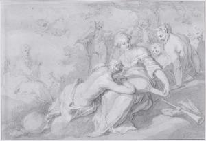 De muziekwedstrijd tussen Apollo en Pan in aanwezigheid van koning Midas en Tmolus