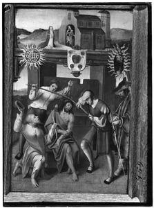 De bespotting van Christus met in de achtergrond de H. Laurentius en een stichtster