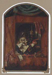 Trompe-l'oeil van een vanitasstilleven met horloge en schildergerei, op een plank tegen een wand