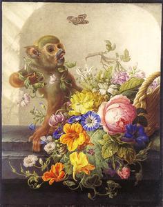 Bloemstilleven met aap op stenen plint