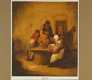 Boerengezelschap met een vrouw die een brief voorleest