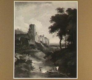 Landschap met ruïne; in de voorgrond een herder met vee