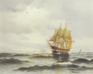 Een Deense oorlogsschip, mogelijk de 'Jutland', bij het verlaten van de haven van Kopenhagen
