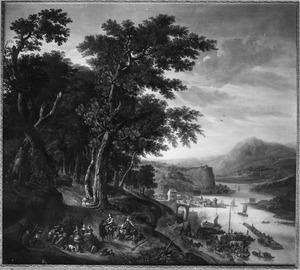 Berglandschap met rivier in een dal, links een legerkamp