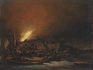 Winterlandschap met nachtelijke brand in een dorp