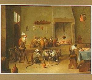 Dierensatire: apen in een herberg