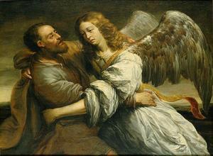 Jakob worstelend met de engel (Genesis 32:24)