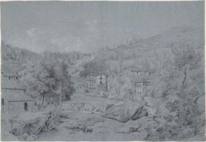 De bedding van een rivier (de Tiber?) en een stad