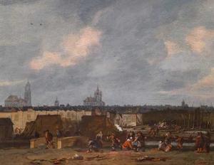 Gezicht op de stad Delft na de ontploffing van het kruitmagazijn op 12 oktober 1654