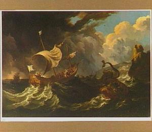 Jona wordt door de zelieden overboord gezet en door een walvis verzwolgen (Jona 1:15-17)