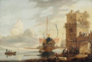 Koninklijk galei in de haven van een ommuurde stad