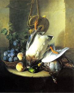 Stilleven met gevogelte en fruit in een nis