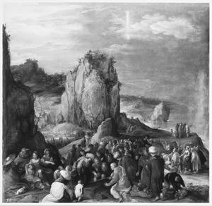 De lijkkist van Jozef wordt geopend op de oevers van de Rode Zee; Mozes doet de golven van de Rode Zee terugstromen over farao's leger (Exodus 14)