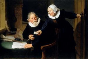Portret van de scheepsbouwer Jan Rijcksen ( -1637) en zijn vrouw Griet Jans