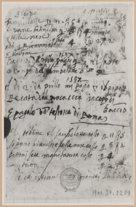 Schetsboekblad met notities van Stradanus over betalingen aan een kleermaker