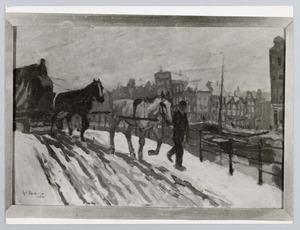Sleperswagen  in de sneeuw op de Prinsengracht bij de Westermarkt in Amsterdam