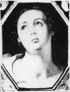 Portret van een vrouw opkijkend naar links