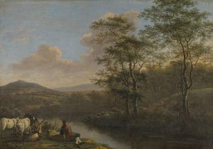 Italiaans landschap met rustende herder
