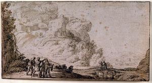 Berglandschap met ruïnes, een stenen brug en figuren
