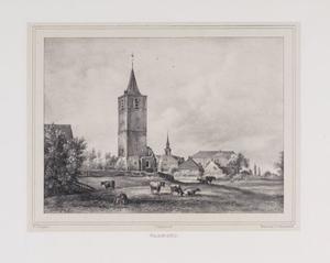 Landschap met koeien en gezicht op de Sint Matthiaskerk te Warmond