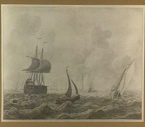 Driemaster, statenjacht en andere schepen op woelig water