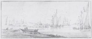 Riviergezicht met veel schepen