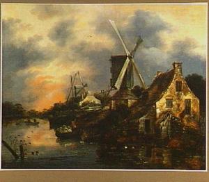 Rivierlandschap met molens en boten